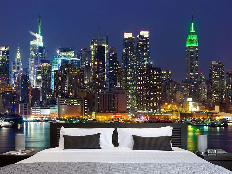 Wandbespannung Skyline New York Midtown bei Nacht