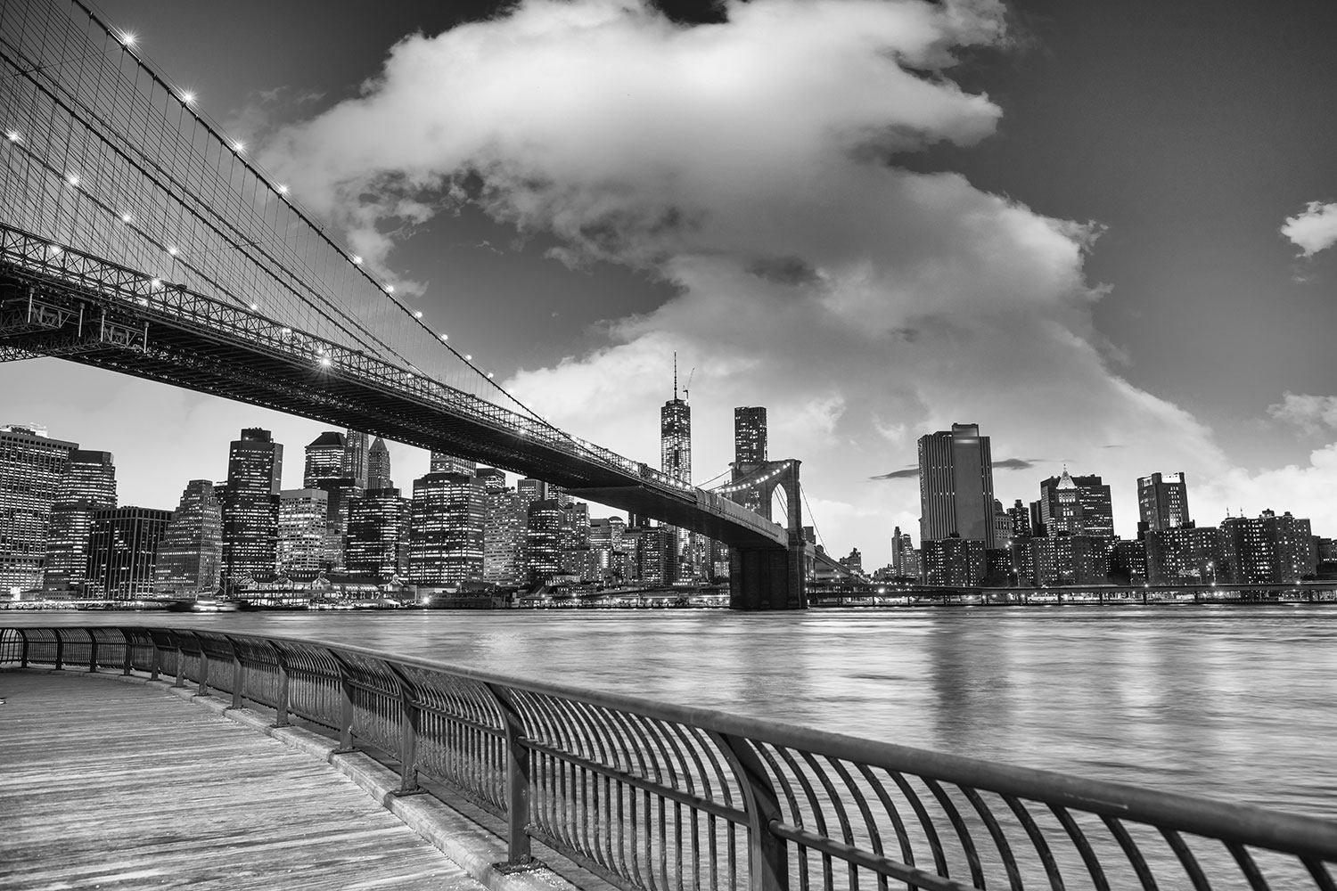 Wandbespannung Skyline Schwarzweissfotografie Brooklyn Bridge NY